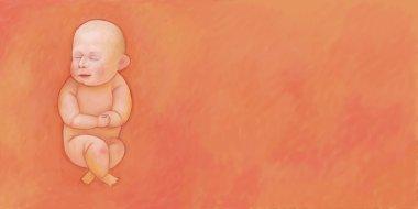 Sleeping baby on orange background