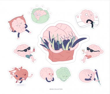 Brain stickers feed and leisure set