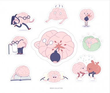 Brain stickers education and stress set