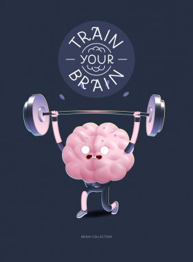 Train your brain poster with lettering, weightlifting