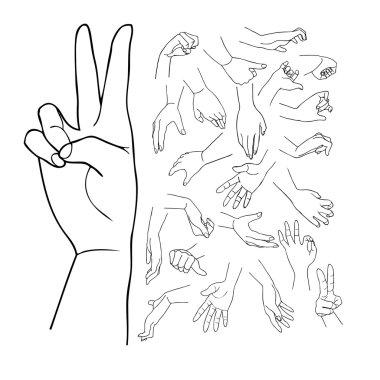 Hands vector set part 1