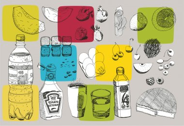 Hand drawn vectorial food