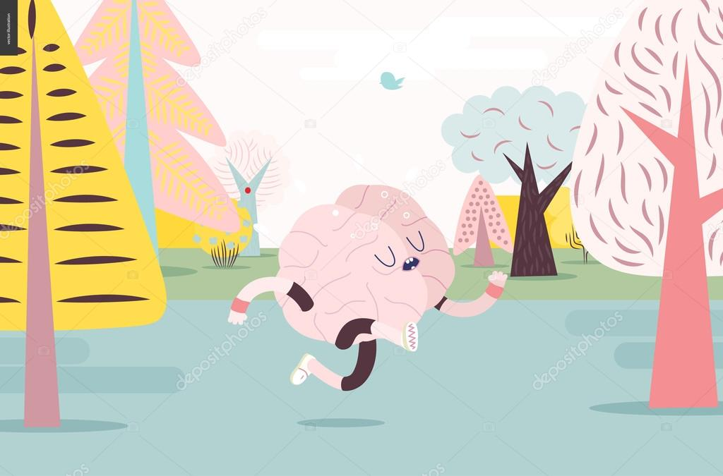 Brain running in the forest, white and pink version