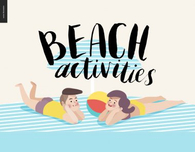 Beach activities calligraphy with sunbathing young couple
