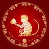 Čínský Nový rok opice Golden pozadí