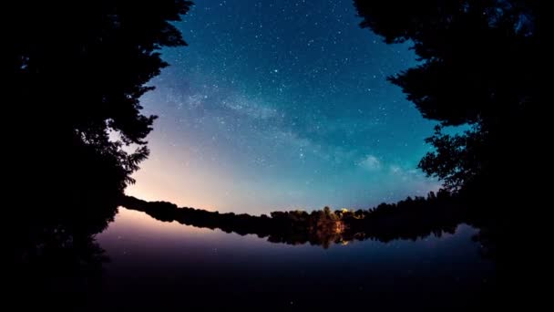 Night Sky and Milky Way Galaxy on river. Time Lapse.