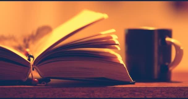 A szél fordul a könyv lapjain. 4k videóinak