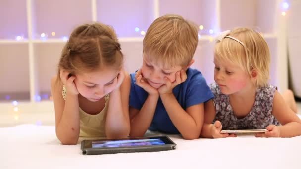 Happy children watching tablet. Full HD Video