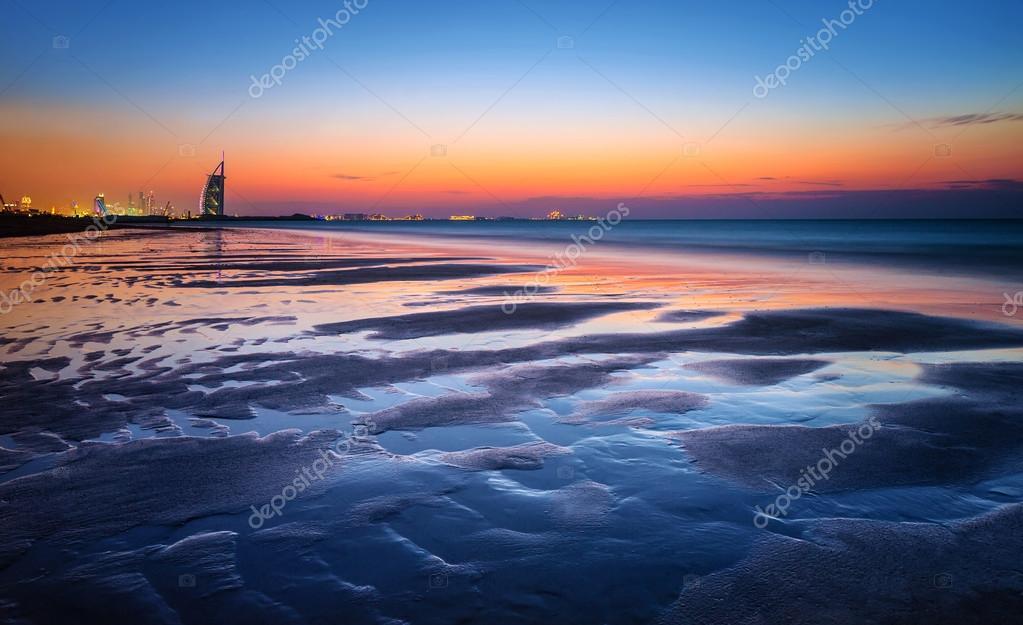 Beautiful beach in sunset light