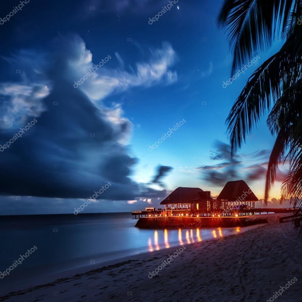 Paradise Beach At Night Stock Photo 75787453