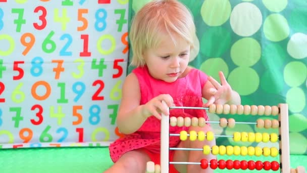 Cute Baby Girl Counting On Abacus Full Hd Video Stock Video