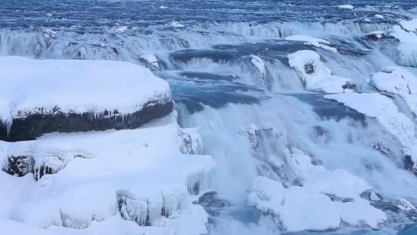 Úžasný pohled na Golden Falls, Island. Full Hd Video