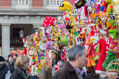 MADRID,SPAIN - DECEMBER 18: Famous Christmas market full of shop