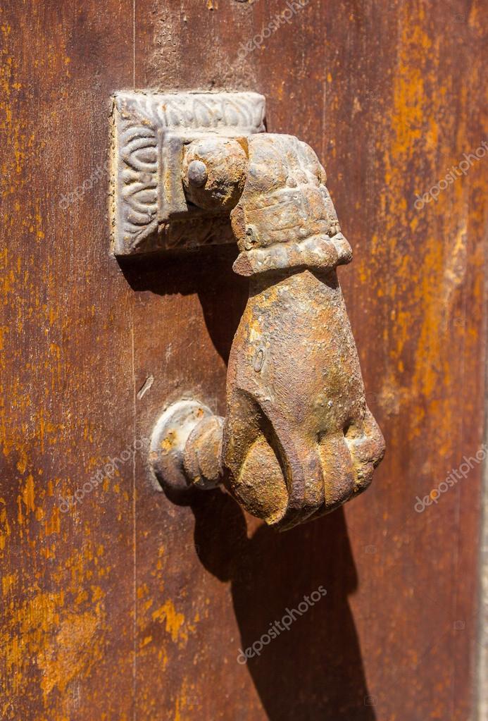 Old Brass Knocker Shaped Hand Door U2014 Stock Photo