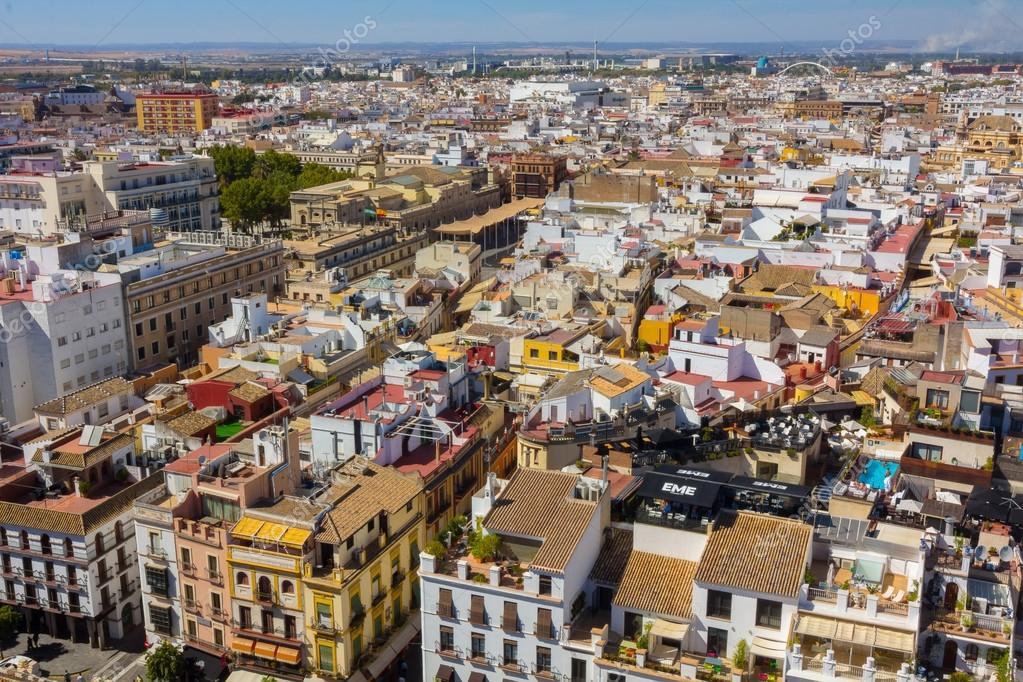 Aerial view of the city of seville spain stock photo - Piscine valencia espagne ...