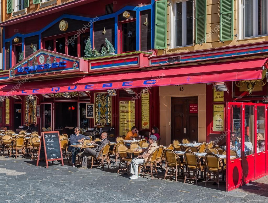 Faszinierend Mediterranes Haus Ideen Von Straßencafés In Ein In Nizza Frankreich —