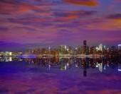 Fotografie Západ slunce panorama Manhattanu v New Yorku z východu