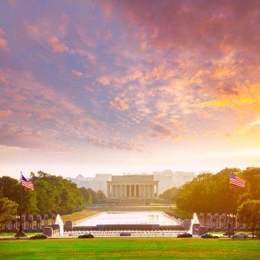 Abraham Lincoln Memorial sunset Washington Dc