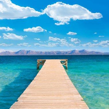 Mallorca Platja de Alcudia beach pier in Majorca