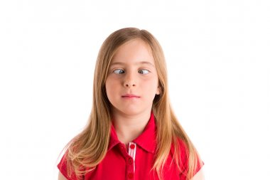 crossed eyes blond girl funny expression gesture