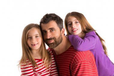 Happy family beard father and two daughters