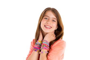 Loom rubber bands bracelets blond kid girl smile