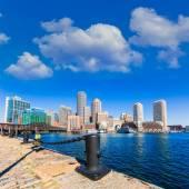 Fotografie Boston panorama z Fan Pier sluneční Massachusetts