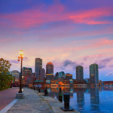 Boston sunset skyline at Fan Pier Massachusetts