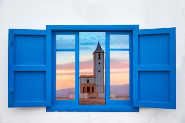 Almeria window of Cabo de Gata Salinas church