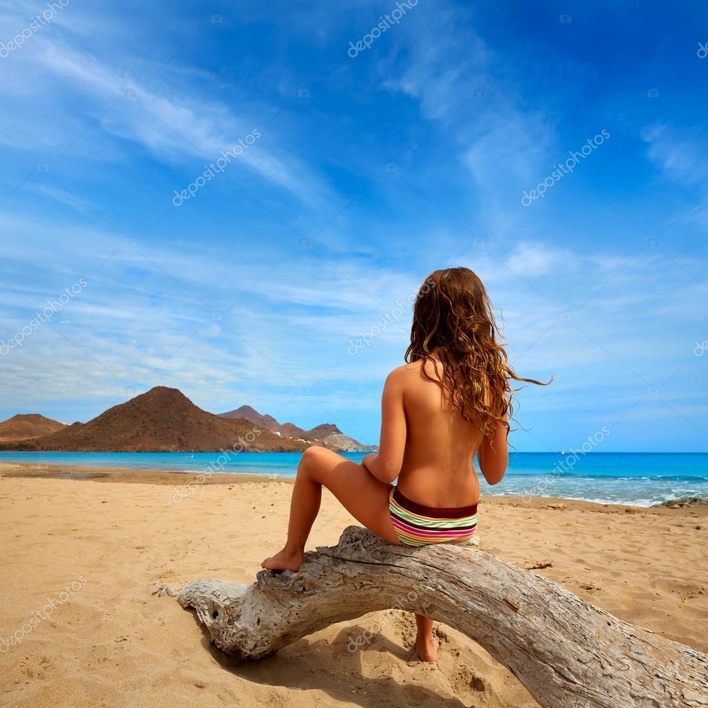 Almeria Playa de los Genoveses beach girl back