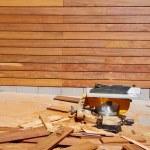 teakholz ipe holz belag zaun muster stockfoto 75520923. Black Bedroom Furniture Sets. Home Design Ideas