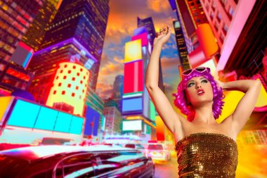 Party girl pink wig dancing in Times Square of NYC