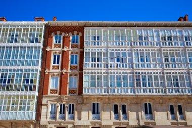 Burgos facades in Cathedral square Castilla