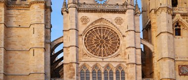 Cathedral of Leon gothic rosette in Castilla