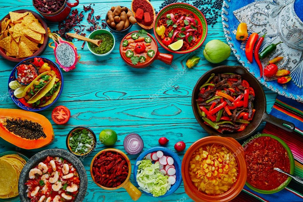 Fondo De Comida Mexicana: Fondo Colorido Mezcla De Comida
