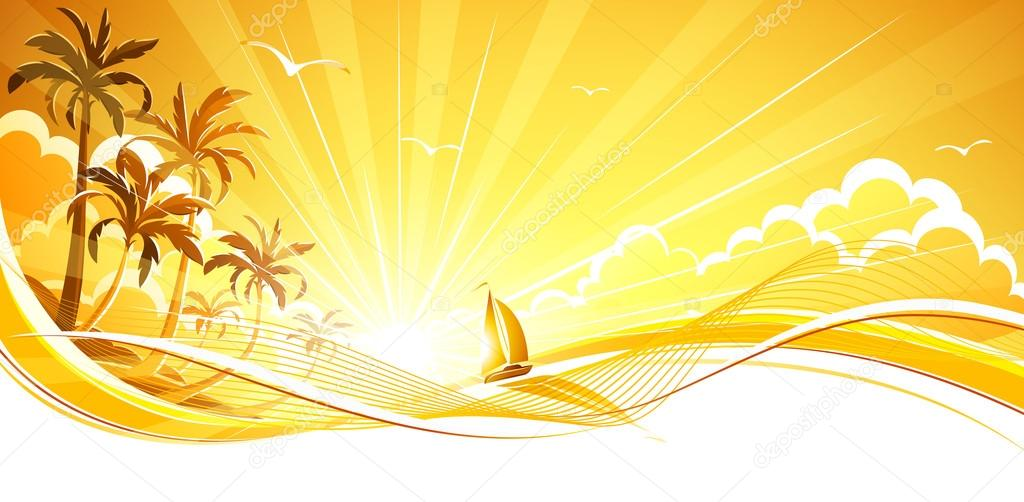 Sunny background with palm trees. Vector