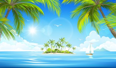 Tropical island. Vector