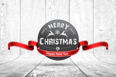 Christmas emblem on wooden texture