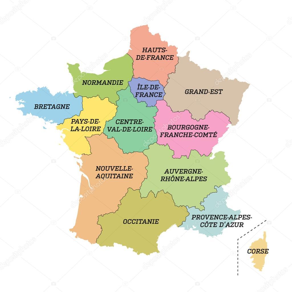 Regionen Frankreich Karte.Metropolitan Frankreich Karte Mit Neuen Regionen Stockvektor