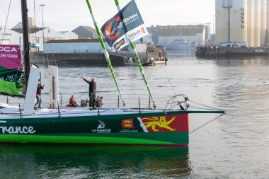 LES SABLES D'OLONNE, FRANCE - NOVEMBER 08, 2020: Miranda Merron boat (Campagne de France) in the channel for the start of the Vendee Globe 2020 on November 08,2020. in Les Sables d'Olonne, France.