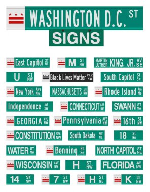 Vector illustration of the famous Washington D.C. streets and avenues road signs