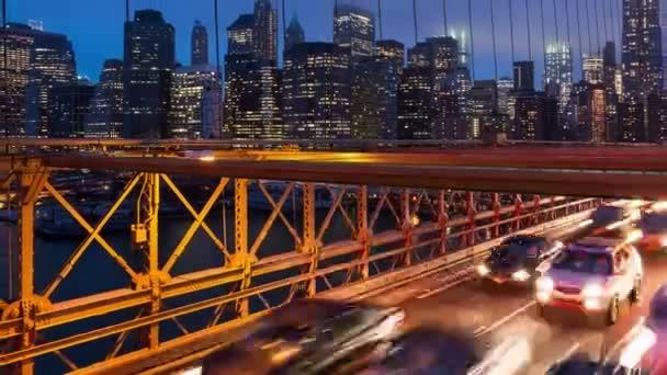 Brooklyn bridge auto semaforu timelapse - New York - Usa