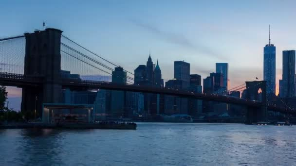 4 k Sunset timelaspe panorama Manhattanu a Brooklyn most - New York - Usa