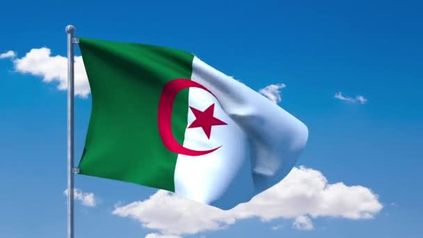 Algerian flag waving over a blue cloudy sky