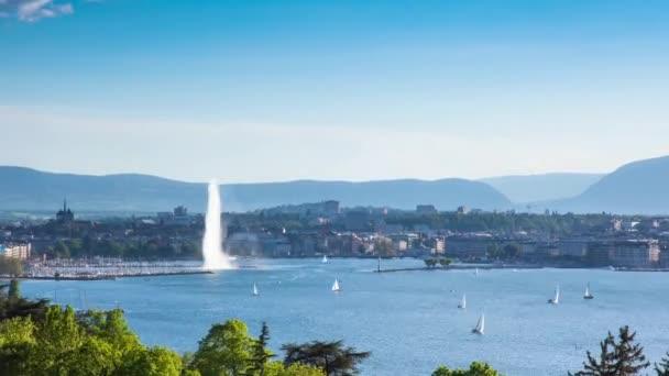 Timelapse Ženevské fontány vodu ve Švýcarsku - Jet deau de Geneve