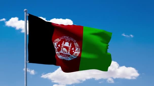 afghan flag waving over a blue cloudy sky