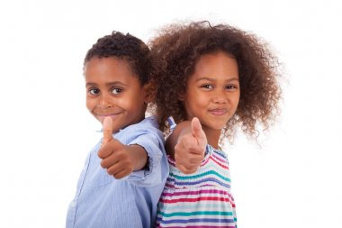African American boy and girl making thumbs up gesture - Black p