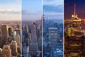 Fotografia montaggio di notte sullo skyline di manhattan al giorno - new york - usa