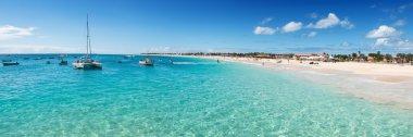 Panoramic view of Santa Maria beach in Sal Cape Verde - Cabo Ver