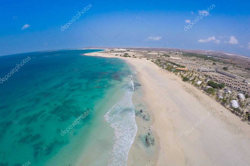 Aerial view on sand dunes in Chaves beach Praia de Chaves in Bo